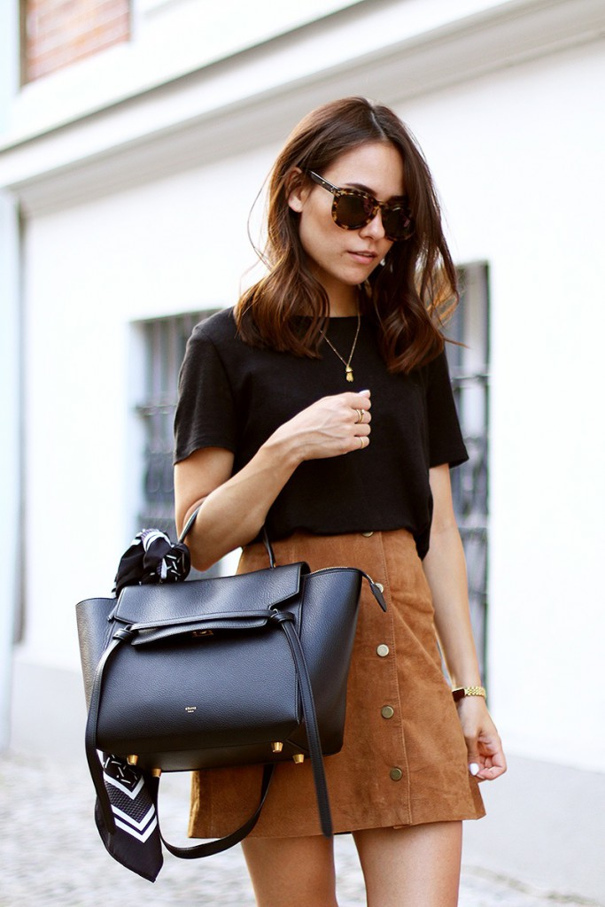 Bloglovin+Blog+Blogger+Style+Tan+Suede+A+Line+Button+Front+Skirt+Sunglasses+Black+Tee+Tied+Print+Scarf+Celine+Bag+Gold+Watch+70s+Inspired+Trend+Via+Teeth+Are+Jade